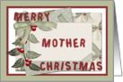 Merry Christmas Mother frame ribbon berry and envelope display card