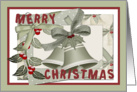 Merry Christmas frame ribbon bells berry and envelope display card