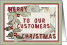 Merry Christmas to our customers frame ribbon berry and envelope display card
