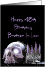 Happy 48th Birthday brother in law cobweb covered skull and candles card