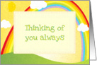 Thinking of you always bright sunny day rainbow card