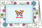 Adorable butterfly swirls and flowers card