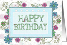 Happy Birthday swirls and flowers framed card