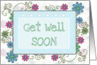 Get well soon swirls and flowers framed card