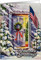 Patriotic Front Door Season's Greetngs Card, American Flag Entry card