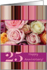 25th Wedding Anniversary Card - Pastel roses and stripes card