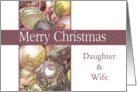Daughter & Wife - Merry Christmas Colored ornaments, purple/white card