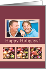 Photocard, Happy Holigays pastel decorated ornaments card