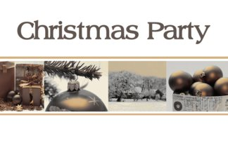 Christmas Party Invitation, sepia, black & white Winter collage card Greeting Card