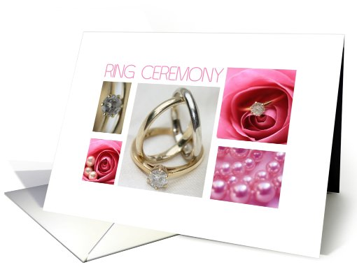 Ring ceremony invitation pink wedding collage card