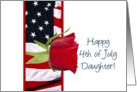 Happy 4th of July rose for daughter card