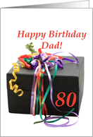 dad 80th birthday gift with ribbons card