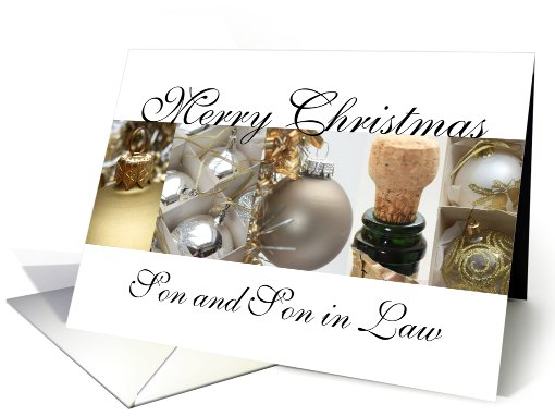 Son & son in law Merry Christmas black & White & Gold collage card