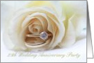 25th Wedding Anniversary Invitation Card - white rose and rings card