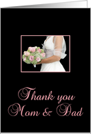 parents of the bride thank you - bride and bouquet card