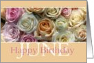 Happy June Birthday pastel roses card - Rose June Birth Month Flower card