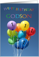 1st Birthday Card for Godson colored balloons card