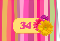 Invitation.34th Birthday Party. Colorful Design card