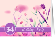 Invitation. 34th Birthday Party.Pink Tulips card