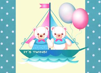 Twins. Birth Announcement. Boy & Girl Teddy Bears Greeting Card