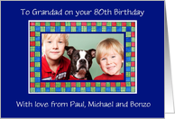80th Birthday Photo Card for a Grandfather card