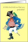 Fun Graduation Congratulations Card, Pirate and Parrot card