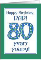 Blue, Green, White 80th Birthday Card for Dad card