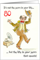 'Years in Your Life' 80th Birthday, Dancing Man card