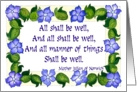 &rsquo;All Shall be Well&rsquo; , periwinkles card