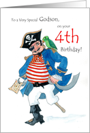 Godson 4th Birthday Card - Pirate card