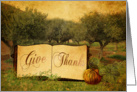 Give Thanks at Thanksgiving, trees and Pumpkin card