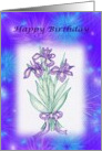 Happy Birthday-February-flower-iris-botanical card