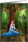 Mystery Fairytale Maiden and Prince in the Forest Blank Note Card