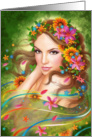 Blank Note Fantasy Beautiful fairy woman with flowers card