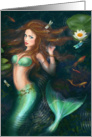 Blank Note Beautiful Fantasy mermaid in lake with lilies card