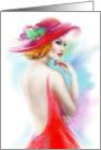 Blank Note Card, beautiful fashion woman in red hat card