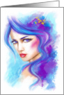 fairy blue fantasy beautiful portrait abstract . Blank Note Card