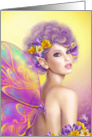 Beautiful fairy butterfly at pink and purple flower . Fantasy Art card