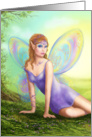 Fantasy fairy butterfly sits on grass in wood. card