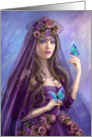 Beautiful woman fairy and blue butterflies. Fantasy illustration card