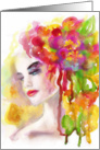 Spring woman. Abstract portrait , hand painted . Blank Note card