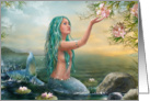 Mermaid in the Sunset with Green Hair & Lilies card