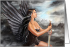 Beautiful black angel in the clouds card