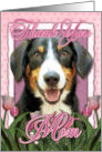 Thank you MOM Entlebucher Mountain Dog in Pink Tulips card