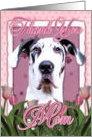 Thank You MOM Harlequin Great Dane Dog in Pink Tulips card