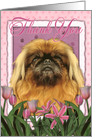 Thank You Pekingese Dog in Pink Tulips card