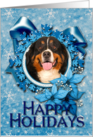 Christmas - Happy Holidays - Bernese Mountain Dog - Blue Snowflakes card