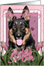 Happy Birthday Mom German Shepherd in Pink Tulips card