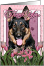 Pink Tulips Thank You German Shepherd card