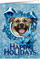 Happy Holidays - Blue Snowflakes - Pitbull - Tigger card